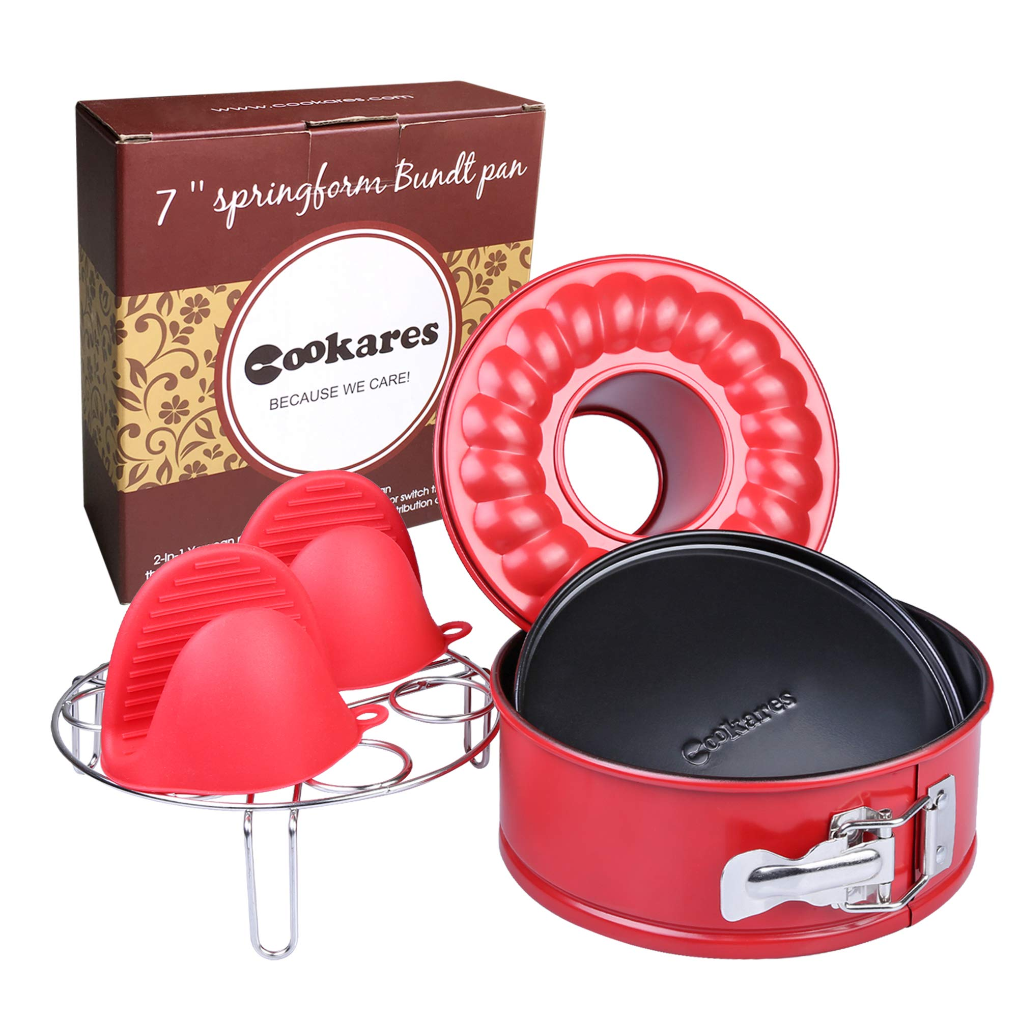 Nonstick 2-in-1 springform 7-inch cheesecake quick-release pan set: two interchangeable bottoms egg rack for Instant Pot accessories & 2 mini Silicone Mitts - fits 5 6 8 Qt by CooKares by CooKares