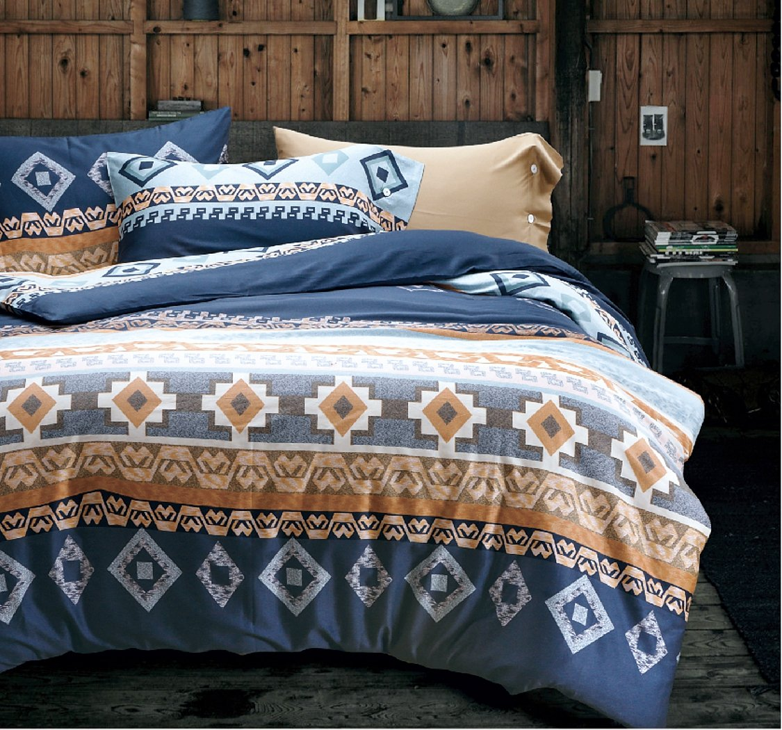 Cotton Bedding 3pc Set Navy White Orange Modern Geo Aztec Print