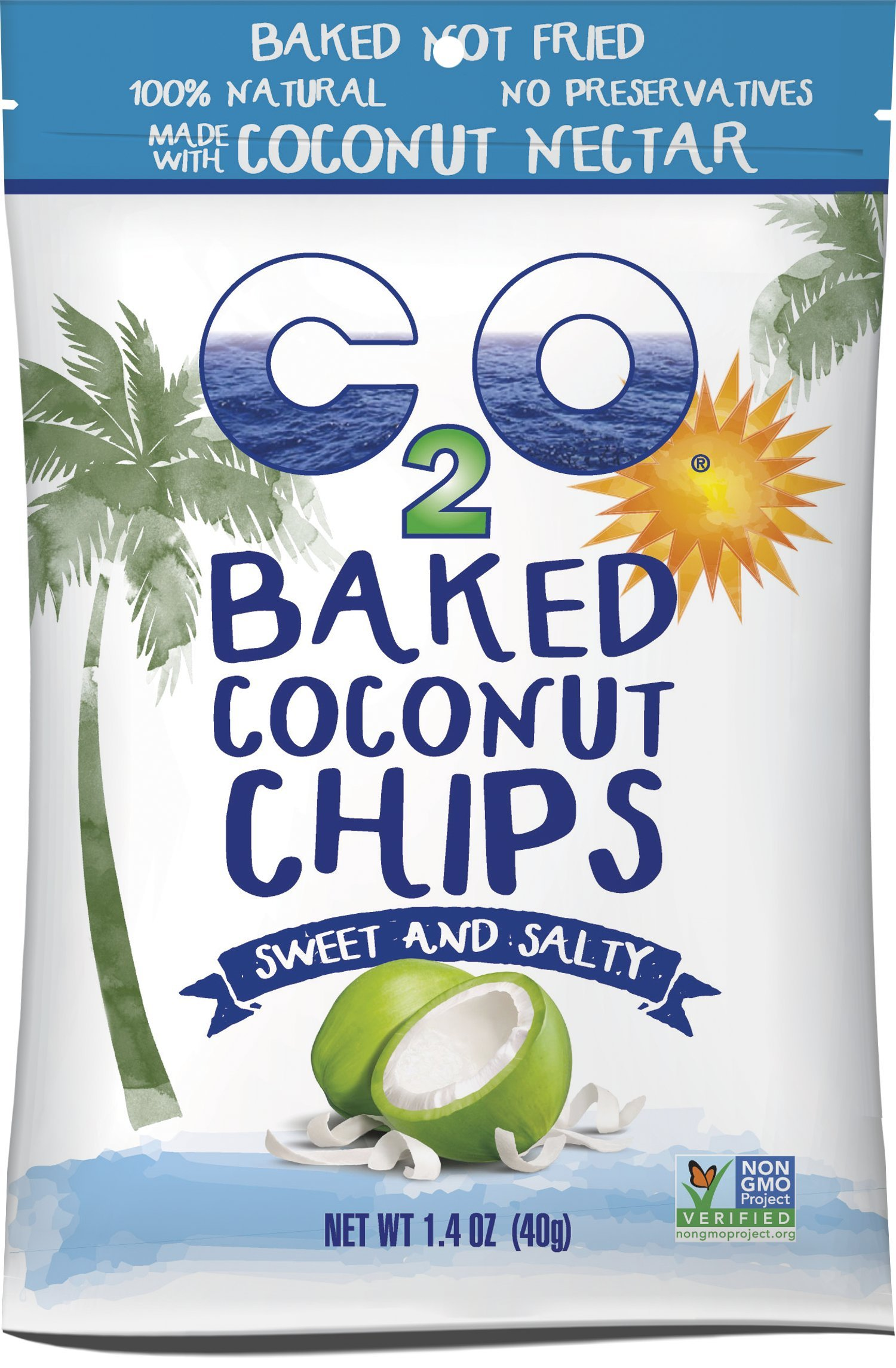 C2O Baked Coconut Chips, Sweet and Salty, 1.4 Ounce (Pack of 12)