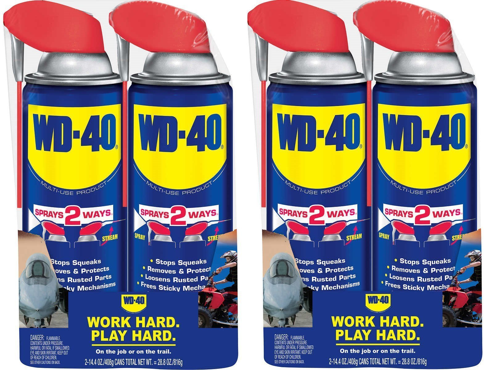 WD-40 Multi-Use Product with SMART STRAW SPRAYS 2 WAYS 14.4 OZ [2-Pack] (2-Case (4 units))