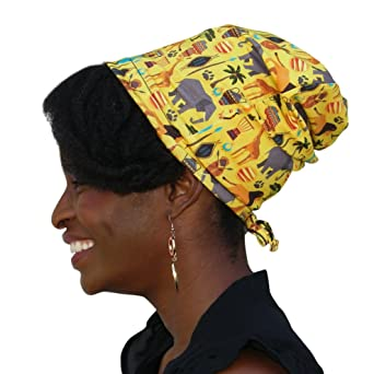 f2df7898a8c Satin Life Adjustable Drawstring Patterned Satin Lined Hat Cap Beanie ...  (African Safari) at Amazon Women s Clothing store