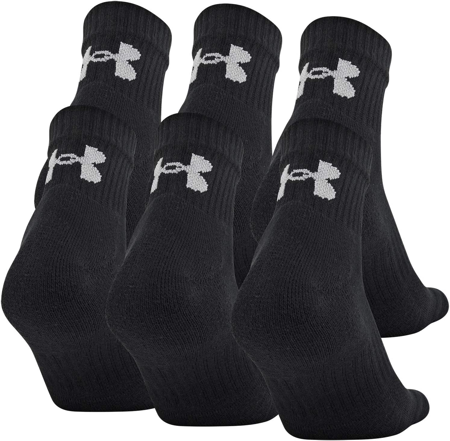 6-Pairs Under Armour unisex-child Charged Cotton 2.0 Quarter Socks