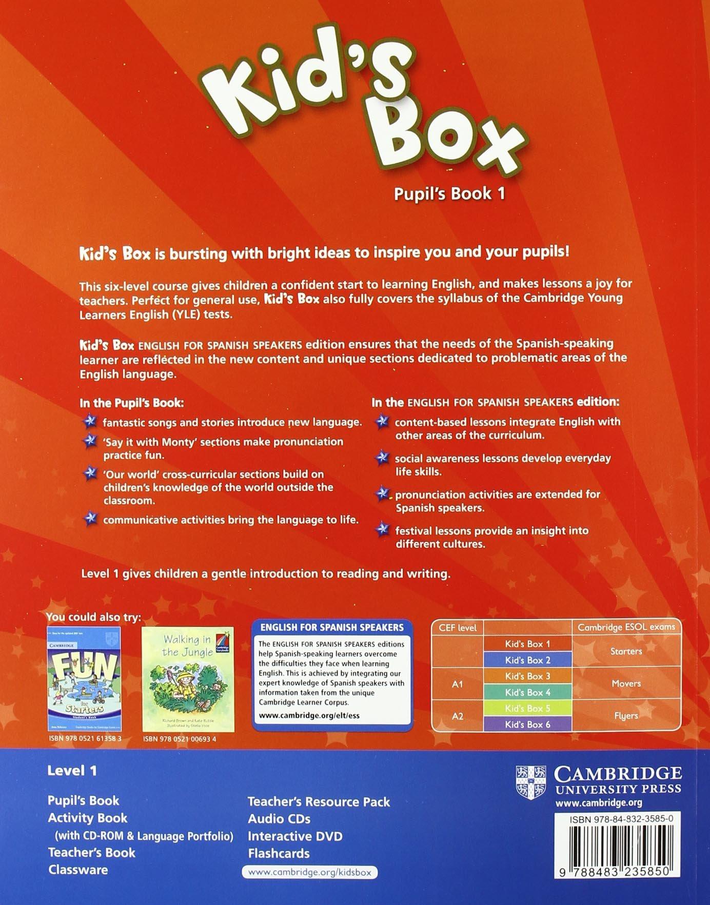 Kid's Box for Spanish Speakers 1 Pupil's Book - 9788483235850: Amazon.es:  Caroline Nixon, Michael Tomlinson: Libros en idiomas extranjeros