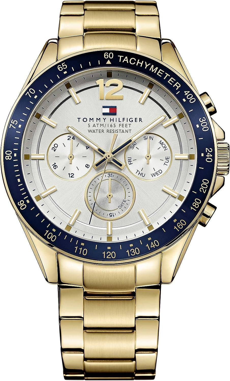 Reloj para hombre Tommy Hilfiger 1791121, mecanismo de cuarzo, diseño con varias esferas, correa de acero inoxidable.