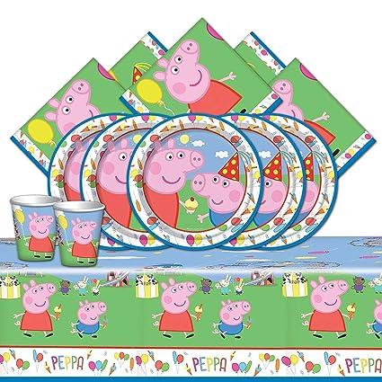 Booghe Peppa Pig Carnival - Kit de Fiesta de cumpleaños Infantil con Suministros de vajilla para 8,16, 24 o 32 Invitados (Starter Kit For 32 Guests)