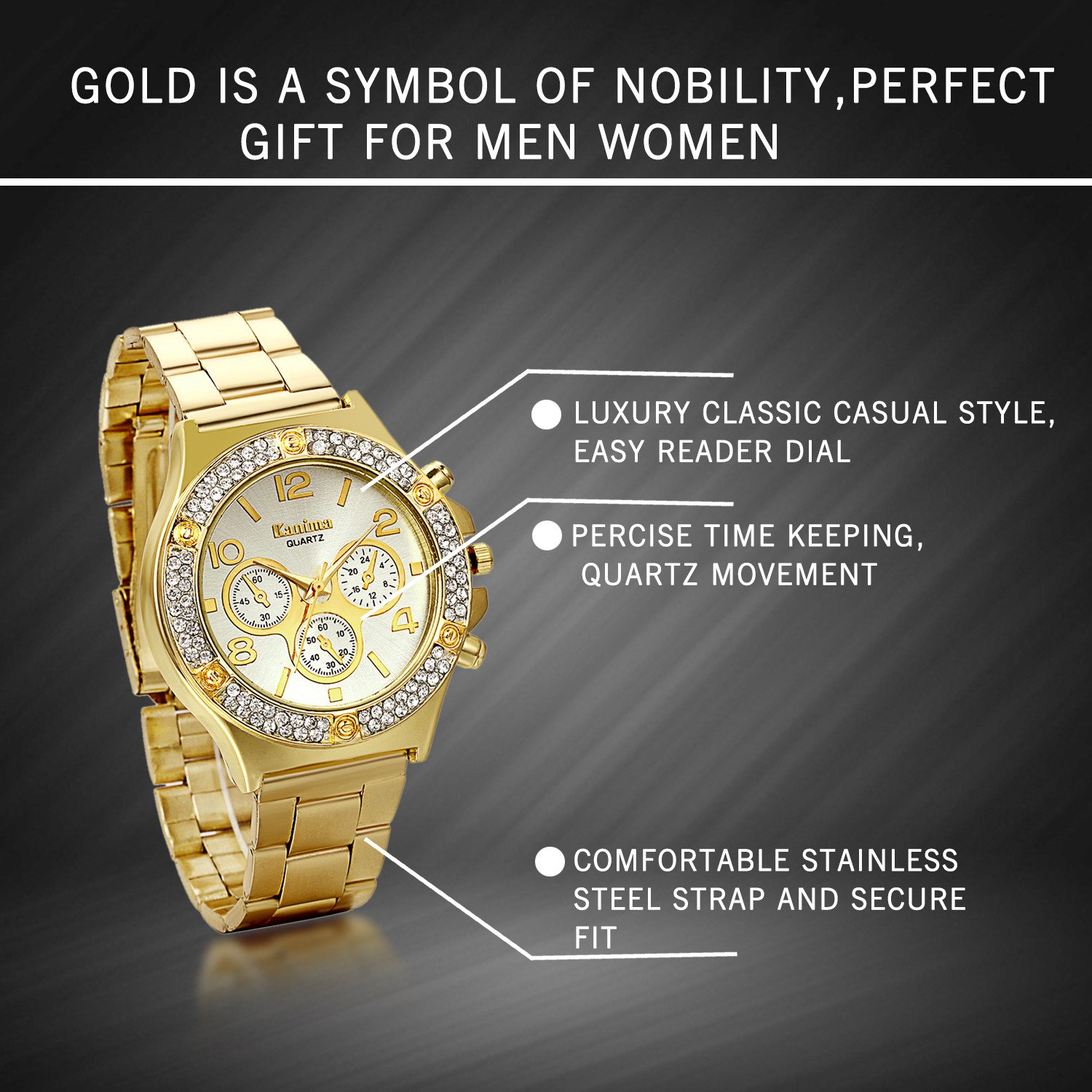 Amazon.com: JewelryWe Luxury Women Men Unisex Gold Tone Stainless Steel Band Quartz Wrist Watch Fathers Day Gift: Watches