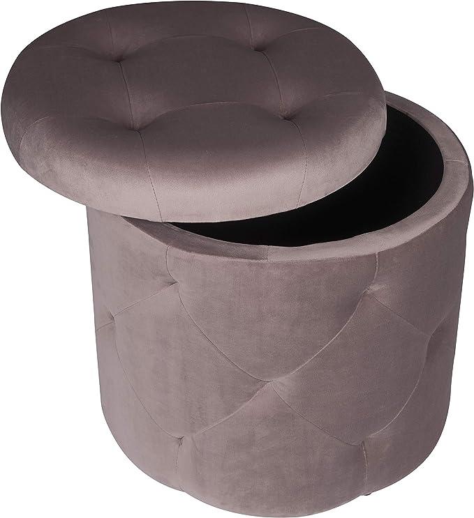EUGAD Pouf Repose-Pieds Tabouret Rond rembourr/é en Velours Pouf Rangement 27L Rose,diam/ètre 39,5cm,0045DZ