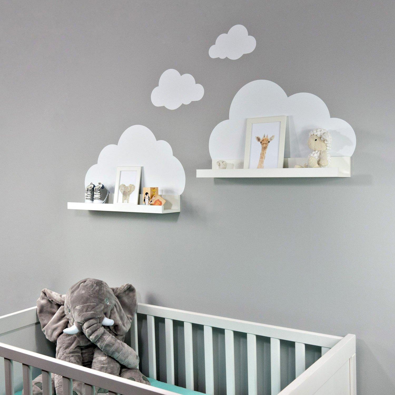 Wandtattoo Wolken in weiß für IKEA Regalbrett Ribba/Mosslanda 55 cm Bilderleiste für Babyzimmer Kinderzimmer – Aufkleber für Wand und Tapete Mia Félice