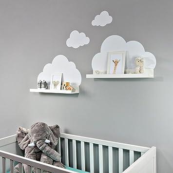 wandtattoo wolken in weiss fur ikea regalbrett ribba mosslanda 55 cm bilderleiste fur babyzimmer kinderzimmer