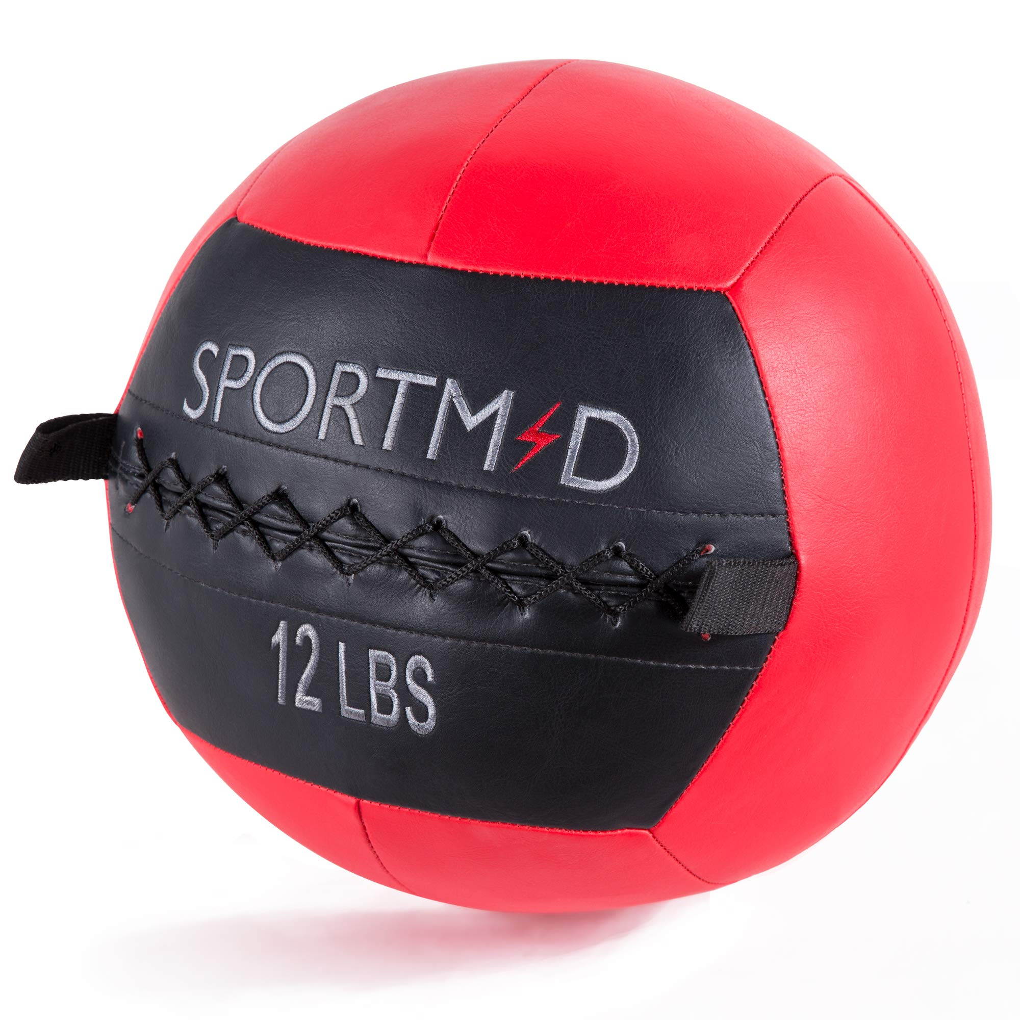 Homevibes Medicine Ball Wall Ball Soft Weighted Ball Exercise Ball Strength Training Exercises Crossfit Cardio Workouts Muscle Building Balance, 12LBS, Red&Black