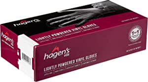 Hagen's VG6 Lightly Powdered White Vinyl Gloves, M Size, 100ct