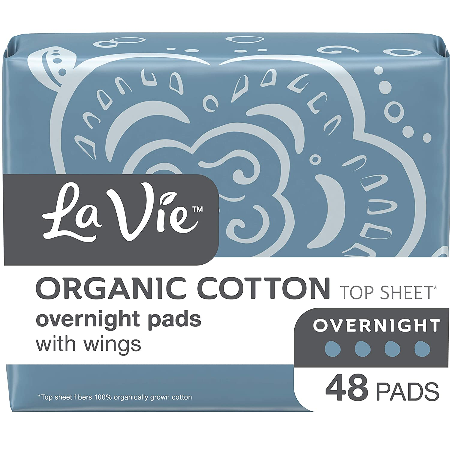 La Vie Organic Cotton Top Sheet* Feminine or Postpartum Pads with Wings, Overnight, Long, 48 Count