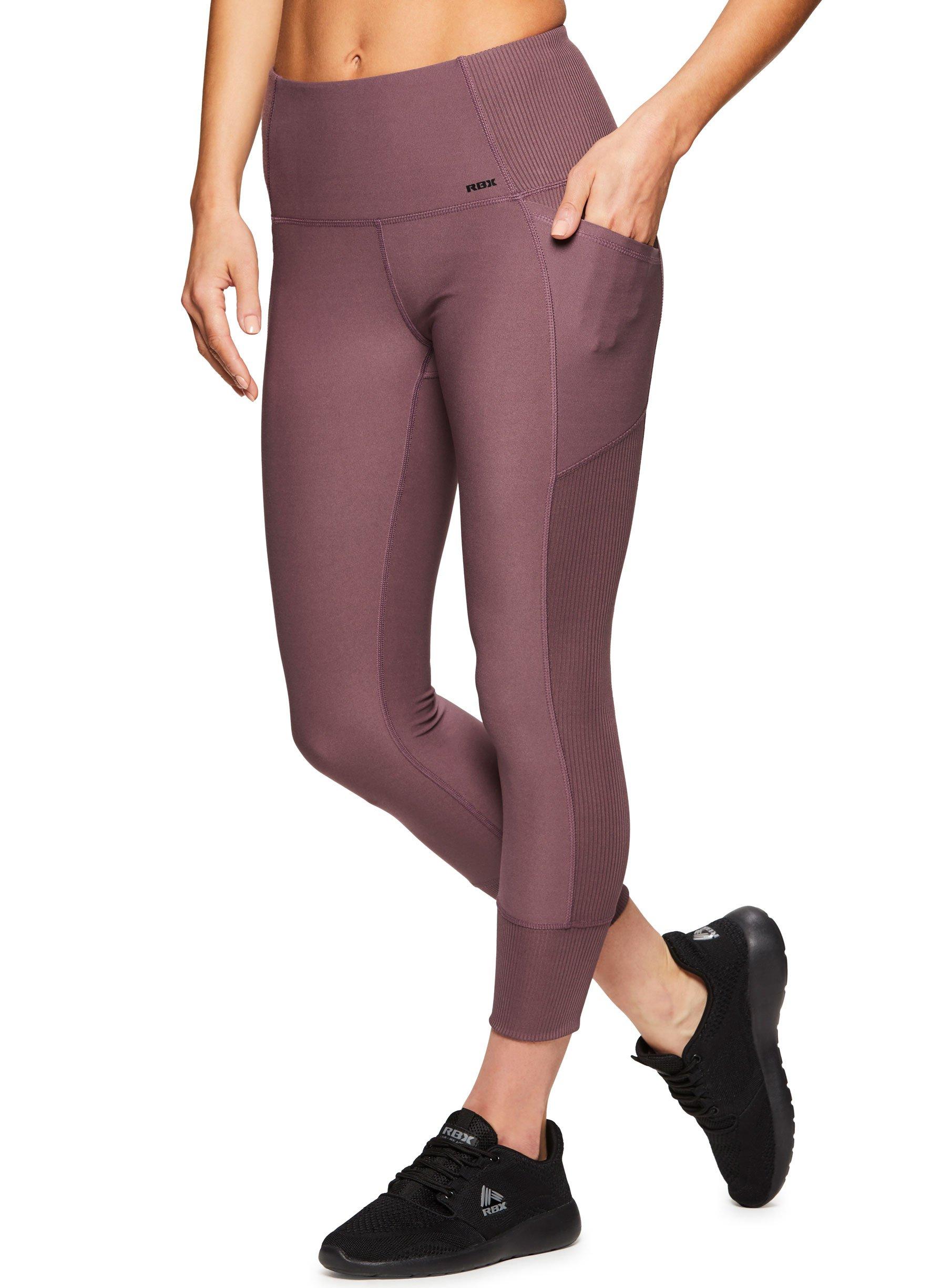 RBX Active Women's Tech Pocket Yoga Workout Leggings Tech Purple L
