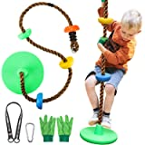 Tree Climbing Rope and Kids Disc Swing Seat Set, Tree Climbing Rope Swing with Platforms and Disc Outdoor Inside…