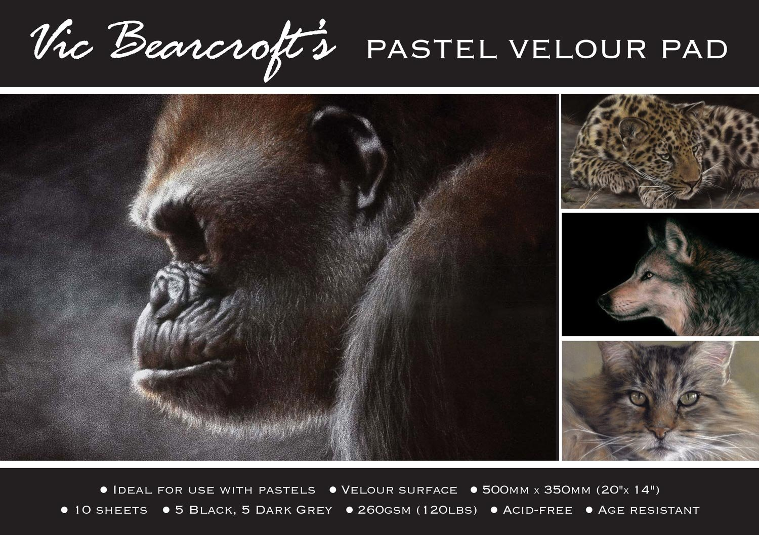 Vic Bearcroft's Pastel Velour Pad - Regular Black and Dark Grey (250mm x 350mm) Tal Media Ltd T/a Artcoe