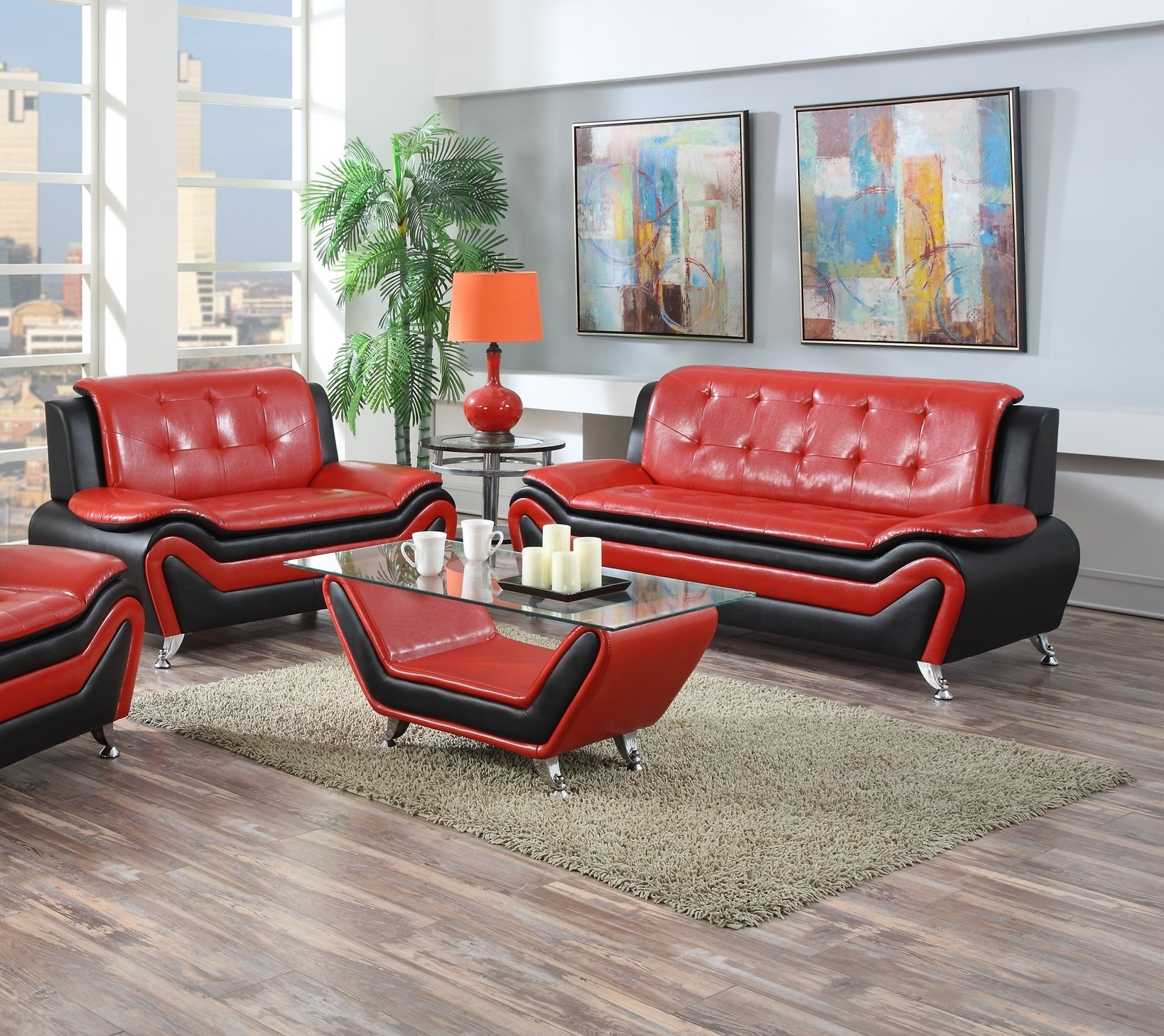US Pride Furniture 2 Piece Modern Bonded Leather Sofa Set with Sofa and Loveseat, Red/Black by US Pride Furniture