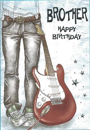 Hermano feliz cumpleaños tarjeta de felicitación guitarra: Amazon.es: Oficina y papelería