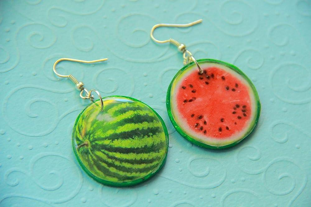 Cute Women/'s Food Jewellery made from Zinc Alloy Fake Mini Fruit Vegan Watermelon Slice Food Earrings Great Birthday gift idea for her