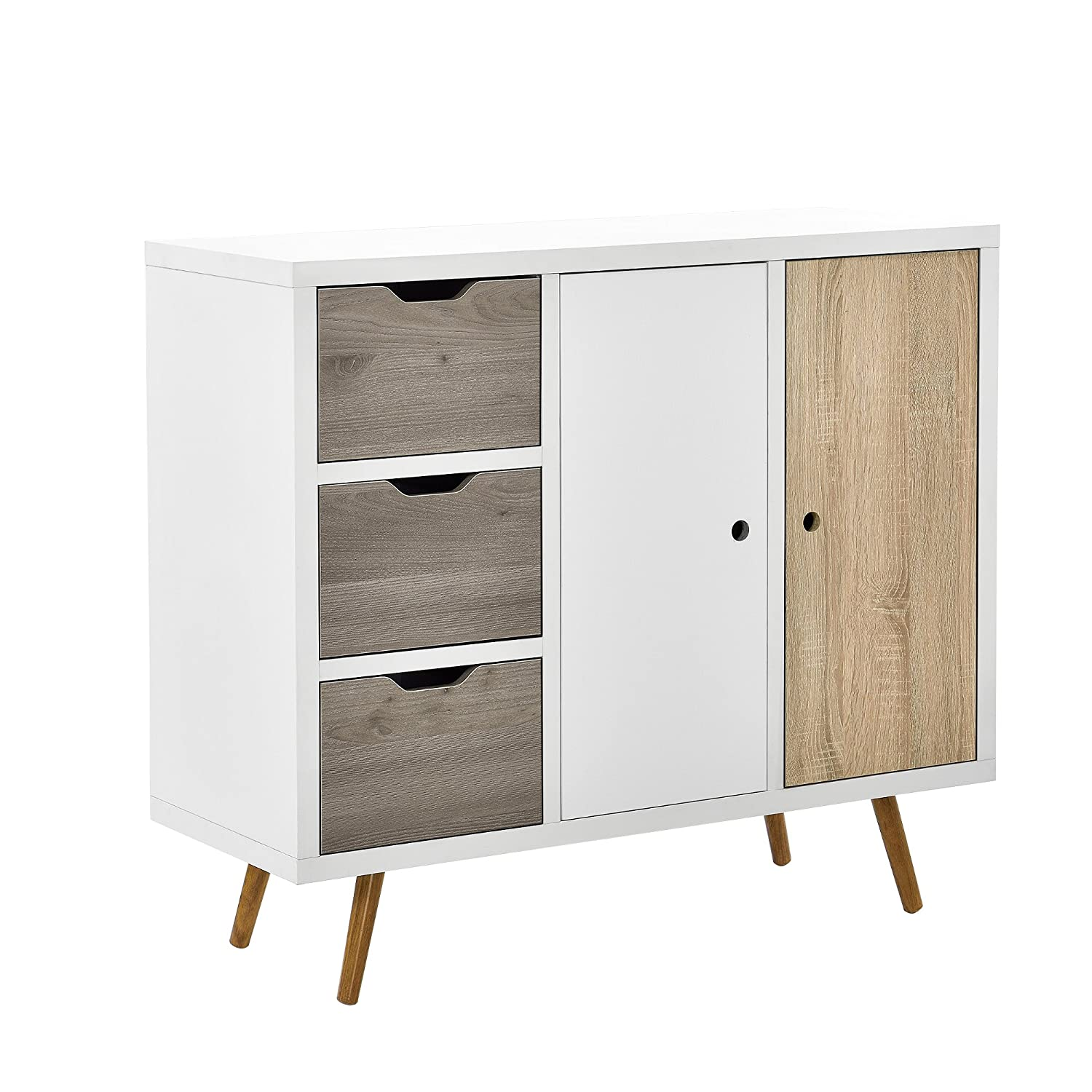 [en.casa]® Design Highboard Commode buffet armoire Blanc-Chêne table d'appoint