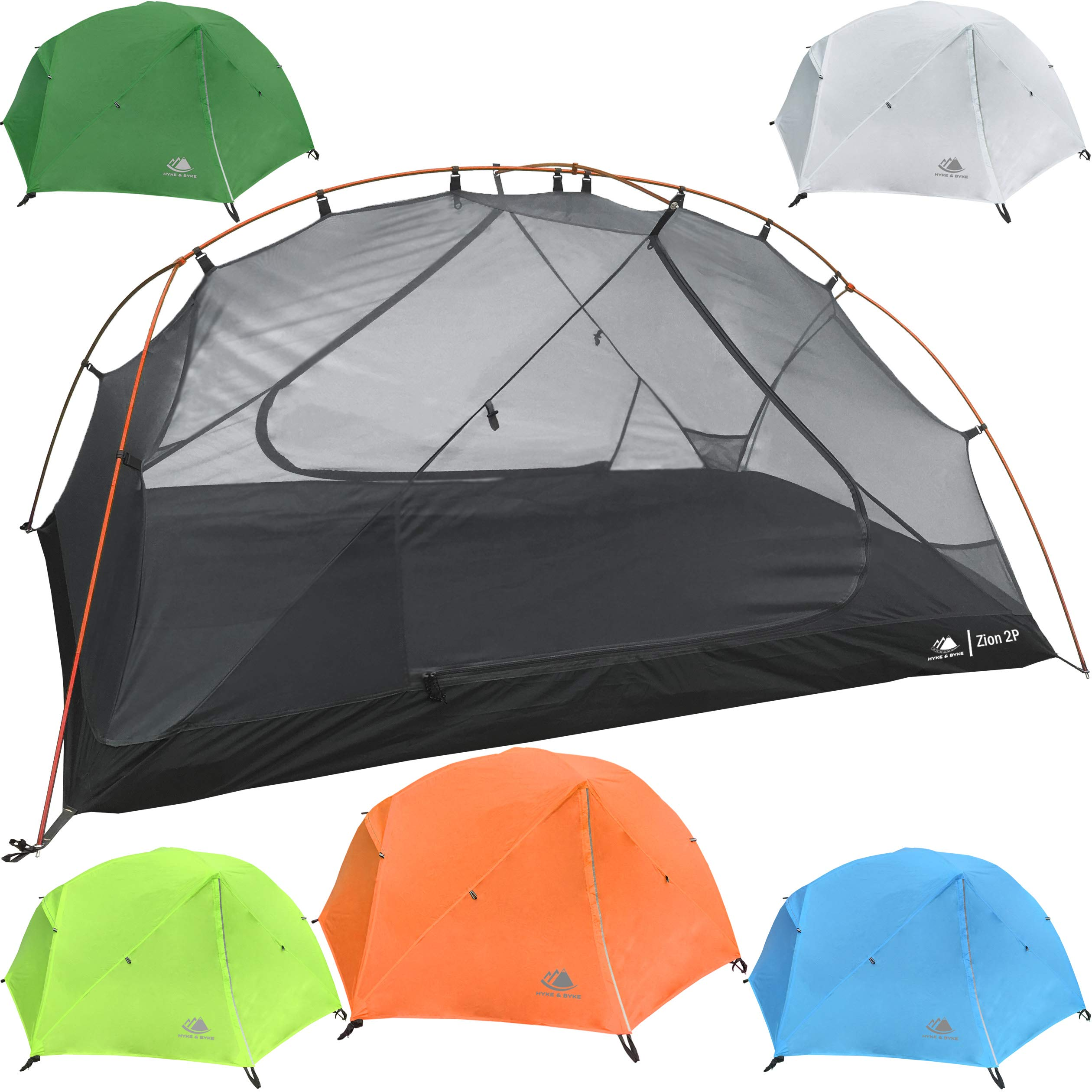 Hyke & Byke 2 Person Backpacking Tent with Footprint - Lightweight Zion Two Man 3 Season Ultralight, Waterproof, Ultra Compact 2p Freestanding Backpack Tents for Camping and Hiking (Orange) by Hyke & Byke