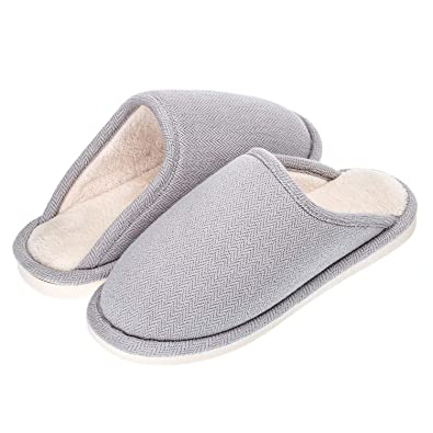 e37ed078ea10 Echoapple Men Women s Cotton Knitted Closed Toe Memory Foam Slippers Terry  Cloth Anti Skid Indoor