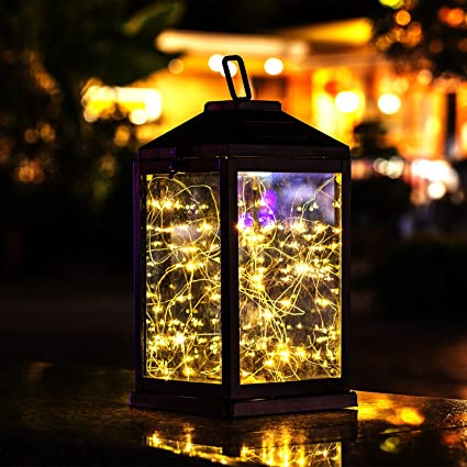 Solar Lantern Lights Metal Sunwind With 30 Warm White LEDs Fairy String  Lights Outdoor Decorative Table