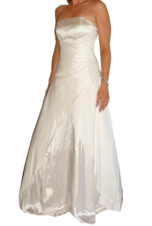 Brautkleid aus Satin (2007A) A-Linie, schulterfrei, im Rücken ...