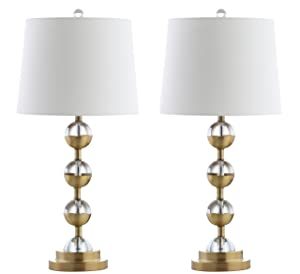 """Avery 27.5"""" Crystal LED Table Lamp, Clear/Brass Gold (Set of 2), Modern, Contemporary, Bulbs Included"""