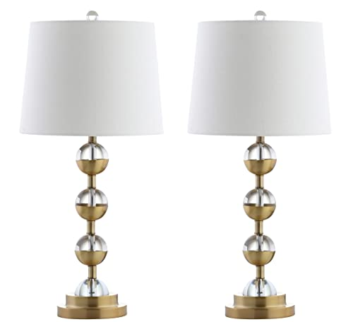 Jonathan Y 27.5 Crystal LED Table Lamp, Clear Gold Set of 2 , Modern, Bulbs Included