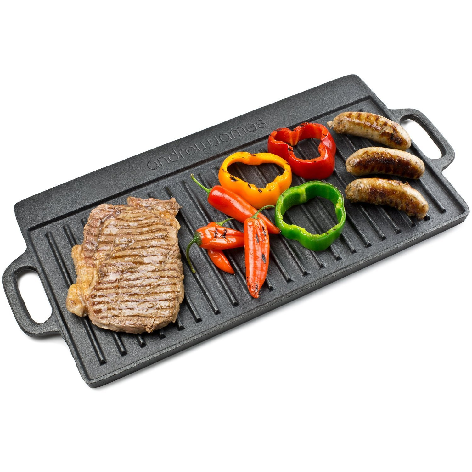 Andrew James Cast Iron Griddle Pan Double Sided and Reversible