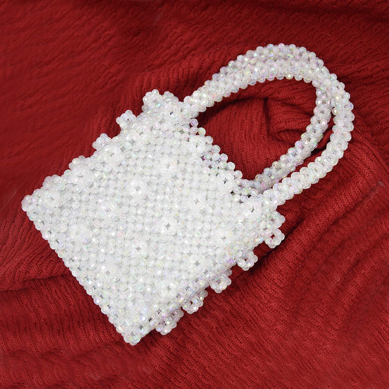 Miuco Womens Beaded Handbags Handmade Weave Crystal Pearl Tote Bags Transparent by Miuco (Image #3)