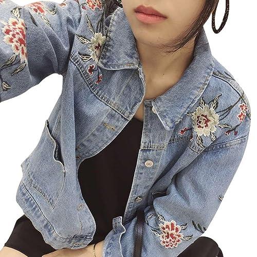 Mujer Bordado Corto Chaquetas Jacket De Mezclilla Abrigo Denim Jacket