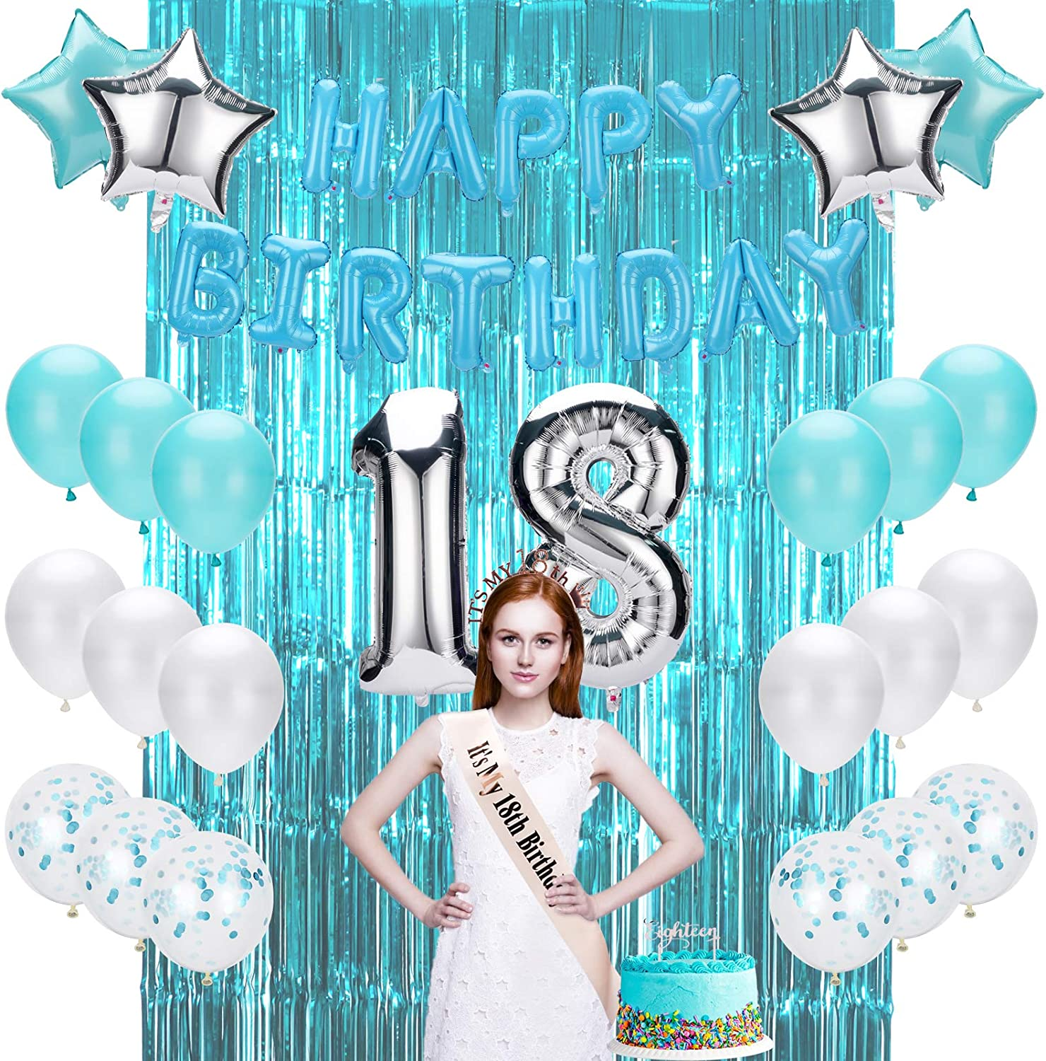 18th Birthday Decorations for Girls Number 18 Foil Balloon Cake Topper Banner Confetti Balloons Fringe Curtain Happy 18th Birthday Decoration 18 Birthday Decorations|18th Birthday Gifts for Girls