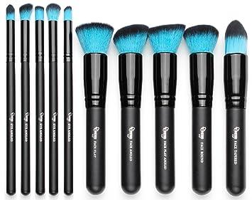 Makeup Brush Sets, Qivange Vegan Eye Shadow Blush Flat Foundation Kabuki Blending Brushes 10 PCS (Black with Blue): Amazon.ca: Beauty