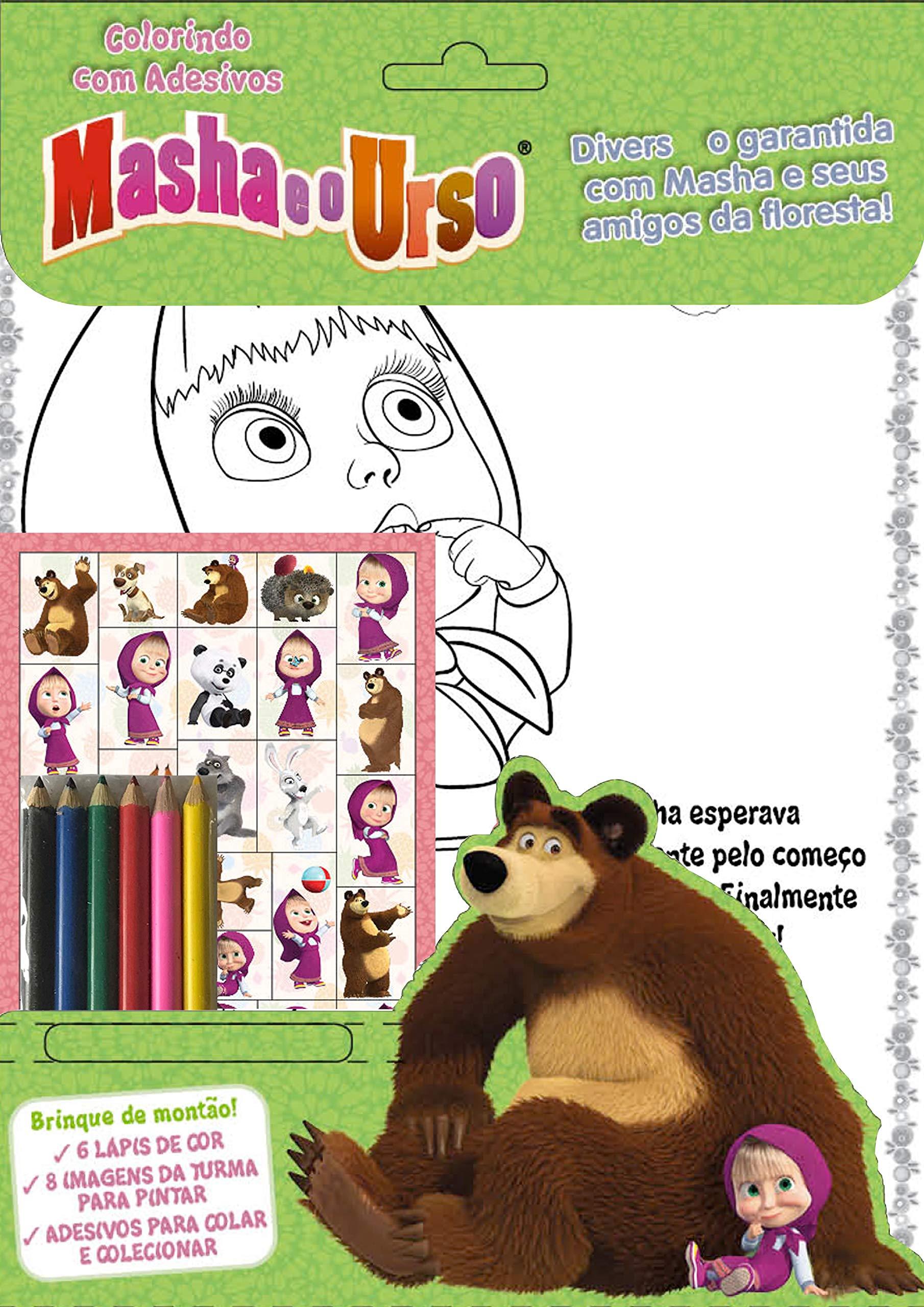 Masha E O Urso Colorindo Com Adesivos Varios Autores