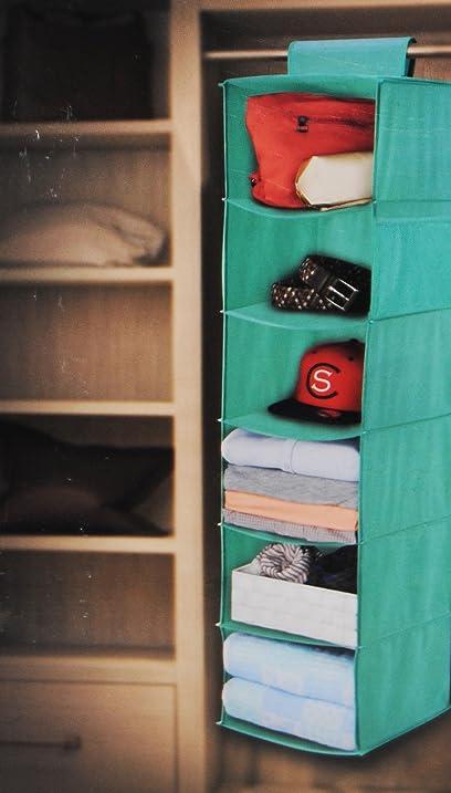 Mint Green 6 Shelf Hanging Closet Organizer