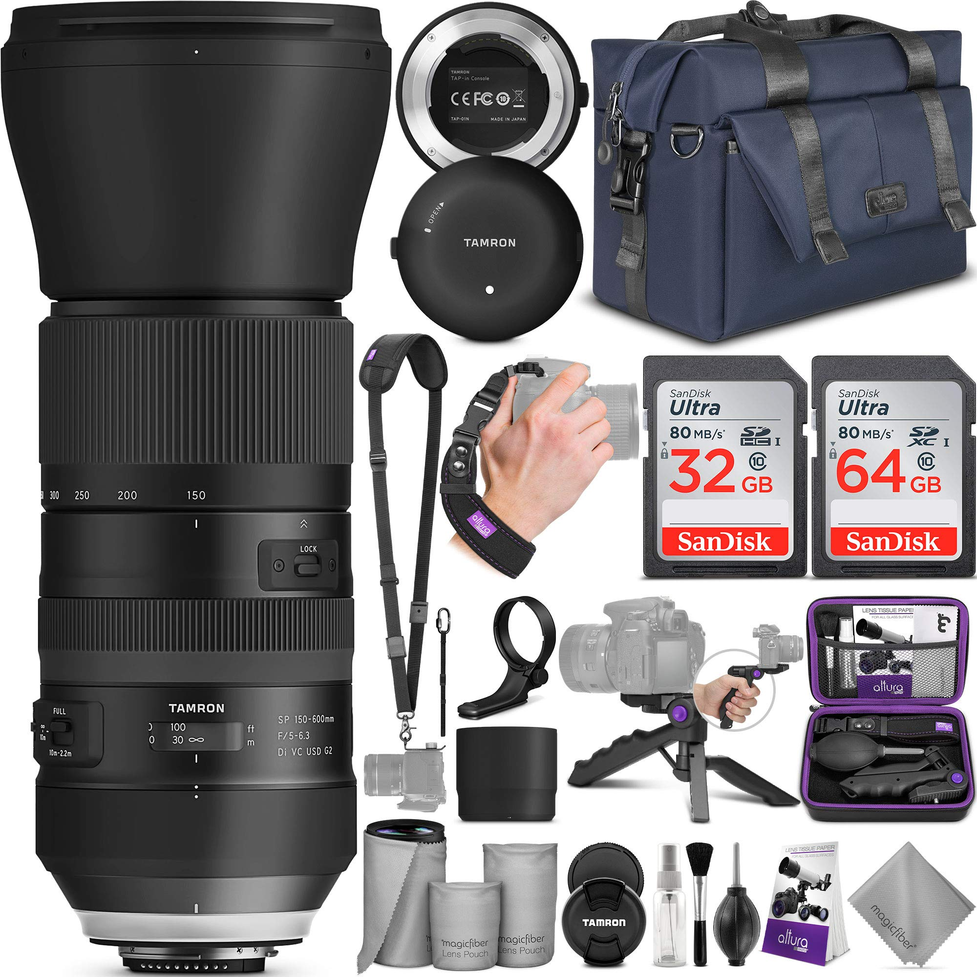 Tamron SP 150-600mm F/5-6.3 Di VC USD G2 Lens for Nikon DSLR Cameras + Tap-in Console with Altura Photo Complete Accessory and Travel Bundle by Tamron