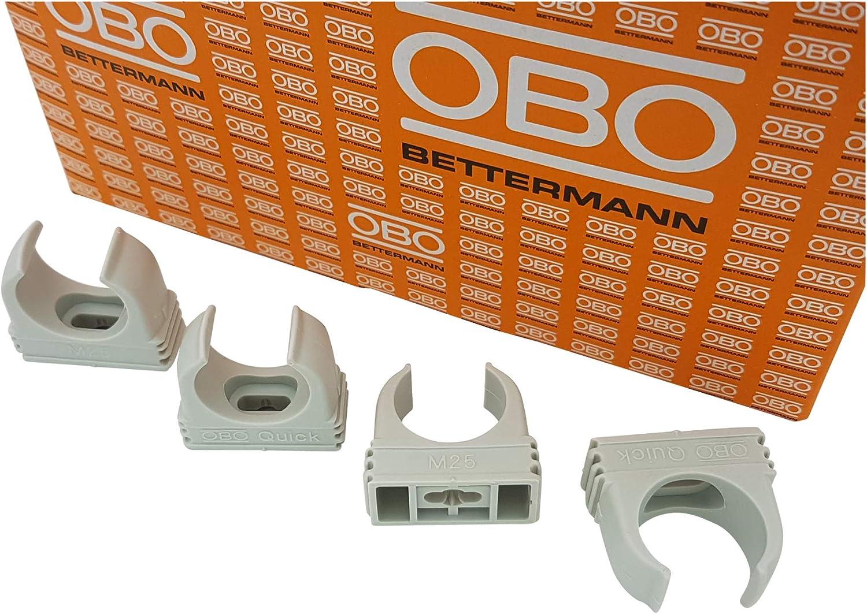 16mm lichtgrau 50 St/ück anreihbar 50x OBO Bettermann M16 Quick-Schellen Klemmschelle Rohrschelle