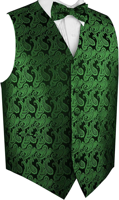 Mermaid Teal Green Paisley Tuxedo Suit Dress Vest Waistcoat /& Neck tie Hanky Set