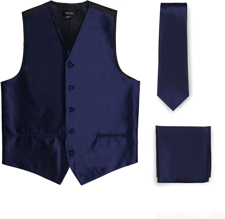 PUCCINI Bows-N-Ties Formal Mens Dress Vest Set - 3pc Vest Set Incl. Formal Vest, Necktie, Pocket Square