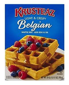Krusteaz Light & Crispy Belgian Waffle Mix - No Artificial Flavors, Colors, or Preservatives - 28 OZ (Pack of 4)