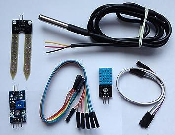 Casa Jardín de Kit de Sensor para Arduino, DHT11 Módulo Sensor de humedad, impermeable DS18B20 sensor de temperatura digital y humedad del suelo Módulo y ...
