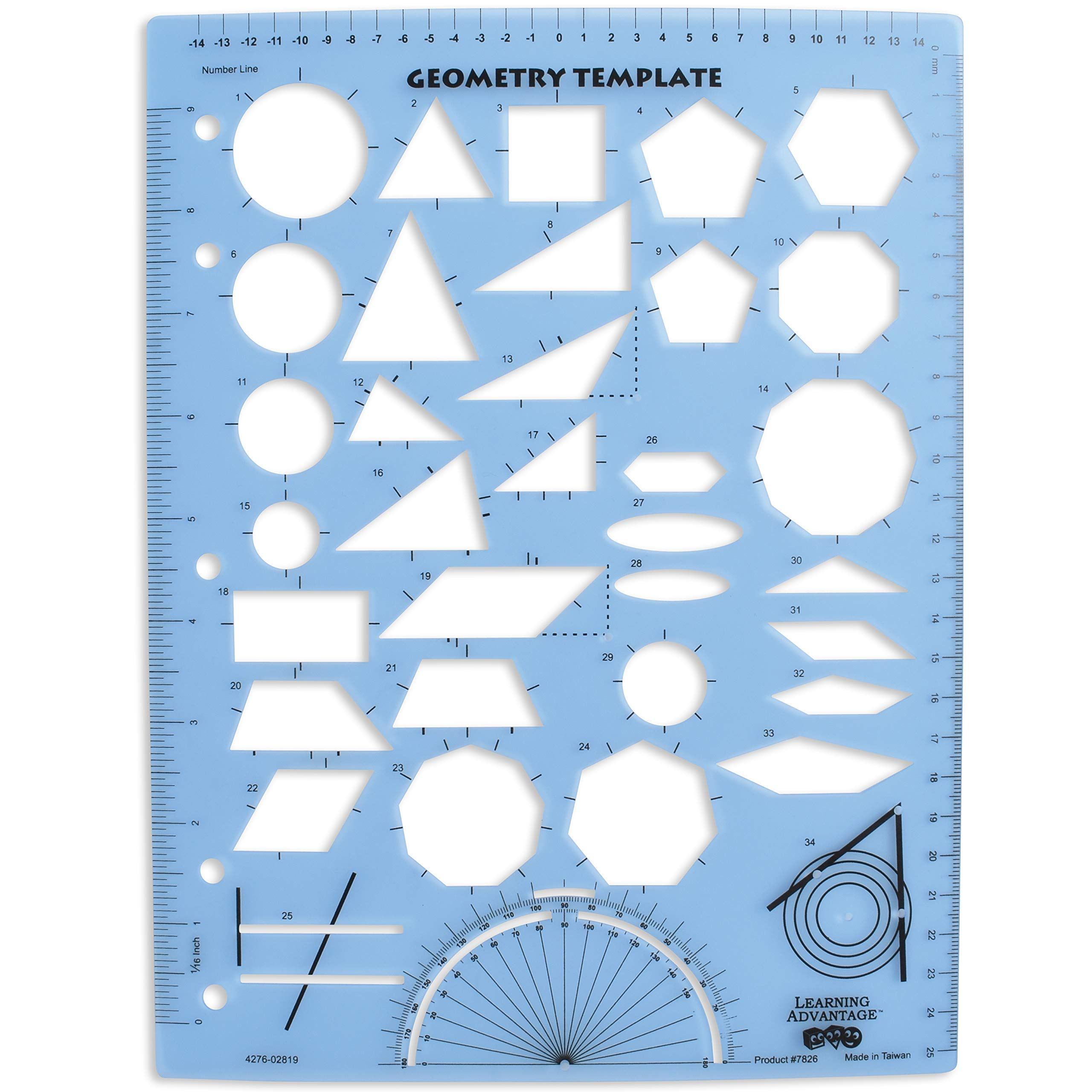 LEARNING ADVANTAGE Geometry Template - Sturdy Geometric Stencil to Draw 2D Shapes and Measure Angles - Includes Ruler plus a Number Line with Negative Values