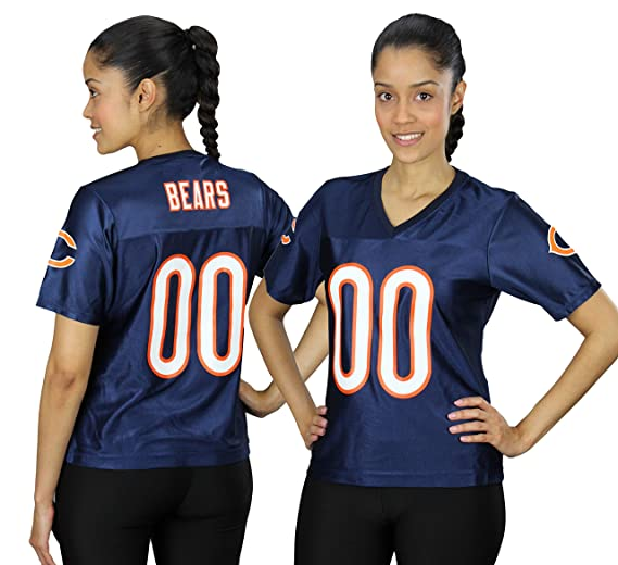 e668708f884 Chicago Bears NFL Womens Team Fashion Dazzle Jersey, Navy (Small, Navy).  Roll over image to zoom in