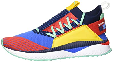 PUMA Men s Tsugi JUN Primary Pigment Sneaker Strong Blue-high Risk  red-Spectra Yellow 115bc9872