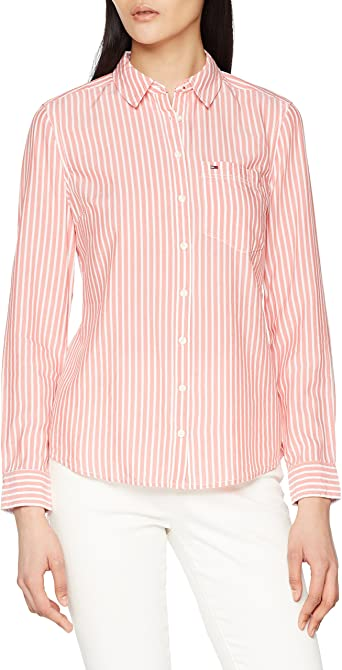 Tommy Hilfiger Regular Stripe Shirt Blusa, Rosa (Spiced Coral/Bright White 901), L para Mujer: Amazon.es: Ropa y accesorios
