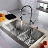 Kraus KHF203-36-KPF1612-KSD30CH 36 inch Farmhouse Double Bowl Stainless Steel Kitchen Sink with Chrome Kitchen Faucet and Soap Dispenser