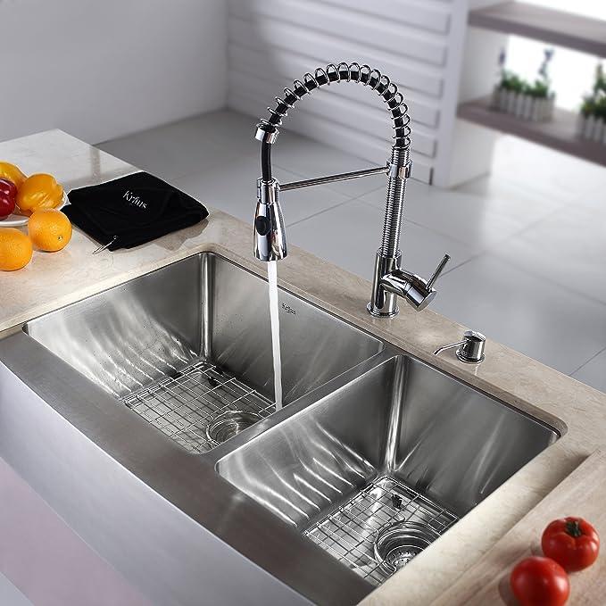 kraus khf203 33 kpf1612 ksd30ch 33 inch farmhouse double bowl rh amazon com chrome kitchen sink plug chrome kitchen sink drain