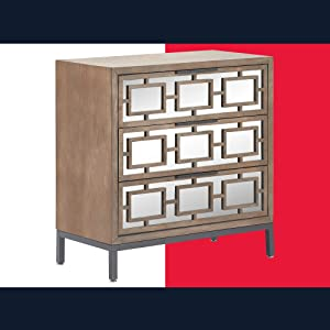 Tommy Hilfiger Hayworth Short Accent Storage Cabinet with Mirrored Doors, Contemporary Weathered Console Table, Wood Overlay, Chest, Gray