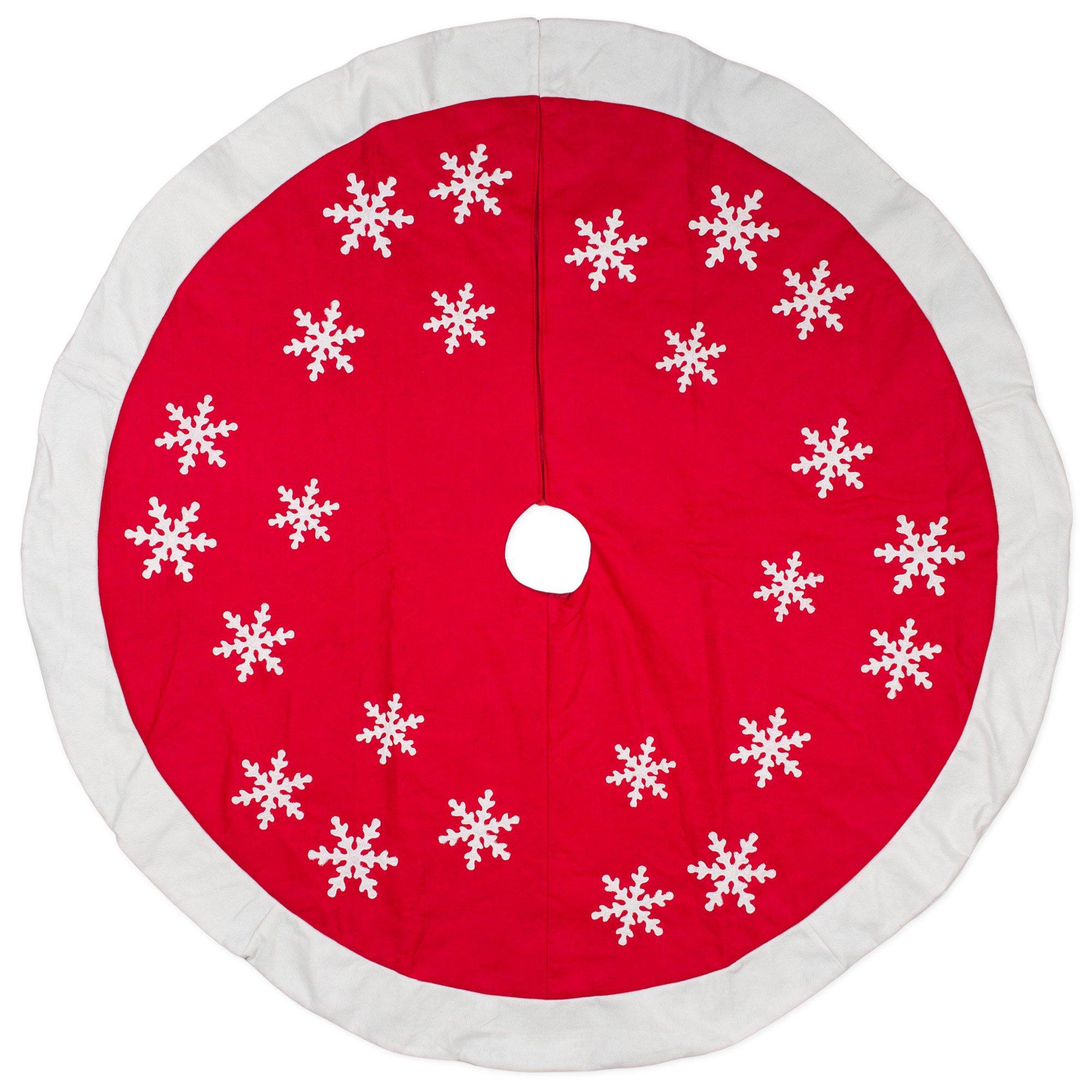 56 inch Red White Snowflakes Design Wool/Felt Christmas Tree Skirt